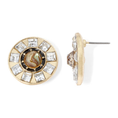 jcpenney.com | Gemma Simone™ Gold-Tone Pearlized Brown & Crystal Round Earrings