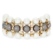 Gemma Simone™ Gold-Tone Box Chain & Simulated Pearl Stretch Bracelet