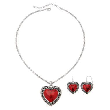 jcpenney.com | Mixit™ Red Heart Pendant Necklace & Earring Set