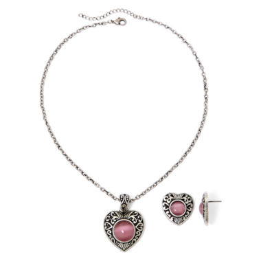 jcpenney.com | Mixit™ Imitation Pink Cat's-Eye Heart Pendant Necklace & Earring Set