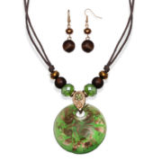Mixit™ Antiqued Gold-Tone Green Murano Glass Pendant Necklace and Earring Set