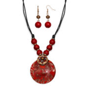 Mixit™ Antiqued Gold-Tone Red Murano Glass Pendant Necklace and Earring Set