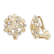 Liz Claiborne Crystal-Accent Button Clip-On Earrings