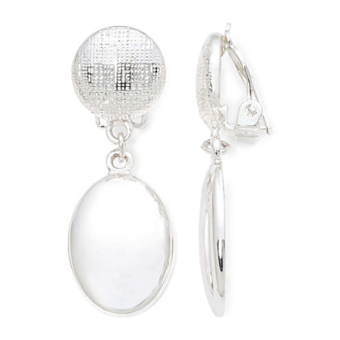 Liz Claiborne® Silver-Tone Clip-On Earrings
