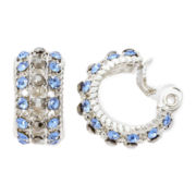 Monet® Blue Crystal and Marcasite Clip-On Hoop Earrings