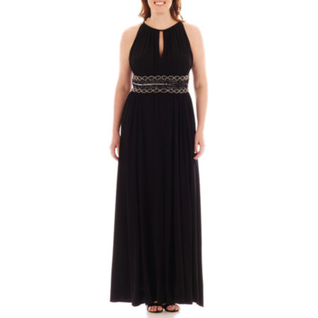 RM Collections Sleeveless Beaded-Waist Halter Gown - Plus
