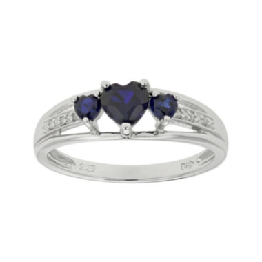 jcpenney.com | Lab-Created Sapphire Heart-Shaped 3-Stone Sterling Silver Ring