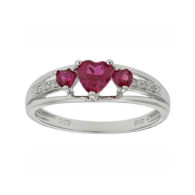 jcpenney.com | Lab-Created Ruby & Diamond-Accent Heart-Shaped 3-Stone Sterling Silver Ring