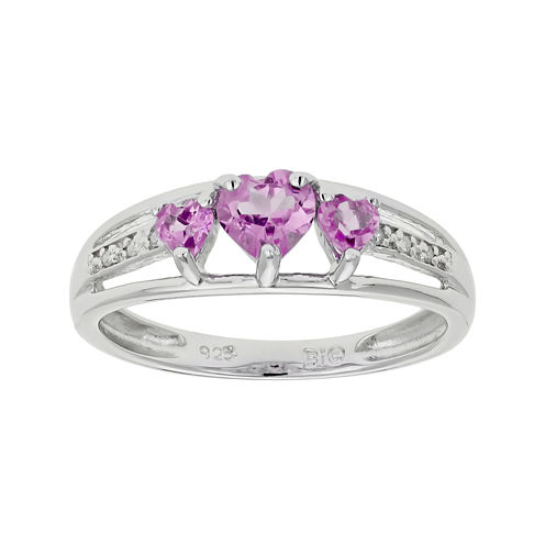 Lab-Created Pink Sapphire Heart-Shaped 3-Stone Sterling Silver Ring