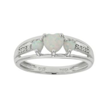 jcpenney.com | Lab-Created Opal & Diamond-Accent Heart-Shaped 3-Stone Sterling Silver Ring
