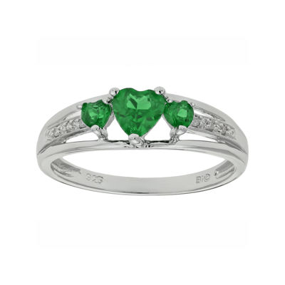 shaped heart sterling silver kriskate ring co simulated emerald