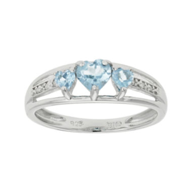 jcpenney.com | Simulated Aquamarine Heart-Shaped 3-Stone Sterling Silver Ring