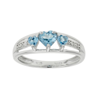 jcpenney.com | Genuine Blue Topaz & Diamond-Accent Heart-Shaped 3-Stone Sterling Silver Ring
