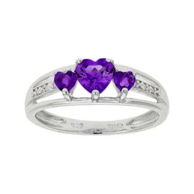 jcpenney.com | Genuine Amethyst Heart-Shaped 3-Stone Sterling Silver Ring