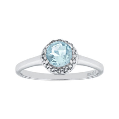 jcpenney.com | Faceted Lab-Created Aquamarine & White Topaz Sterling Silver Ring