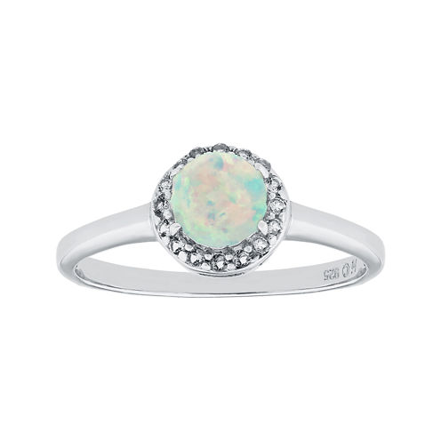 Faceted Lab-Created Opal & White Topaz Sterling Silver Ring