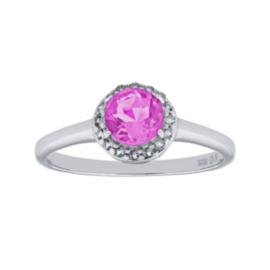 jcpenney.com | Faceted Lab-Created Pink Sapphire & White Topaz Sterling Silver Ring