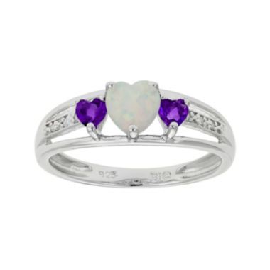 jcpenney.com | Lab-Created Opal & Genuine Amethyst Heart-Shaped Sterling Silver Ring