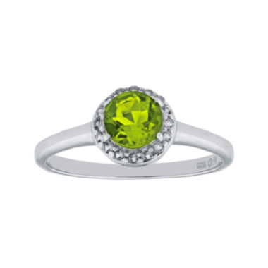 jcpenney.com | Faceted Genuine Peridot & White Topaz Sterling Silver Ring