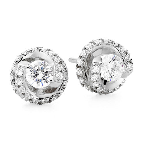 1 CT. T.W. Diamond Spiral 10K White Gold Stud Earrings