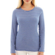 St. John's Bay® Long-Sleeve Crewneck Tee - Petite