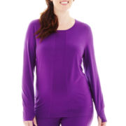 HotTotties Long-Sleeve Scoopneck Shirt - Plus