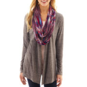 Self Esteem® Long-Sleeve Cardigan Sweater with Scarf