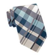 Stafford® Large Neutral Plaid Tie