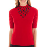 Worthington® Elbow-Sleeve Jeweled Sweater