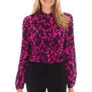 Worthington® Long-Sleeve Ruffle-Front Blouse