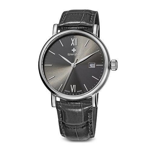Swiza Alza Mens Gray Dial Gray Leather Strap Watch