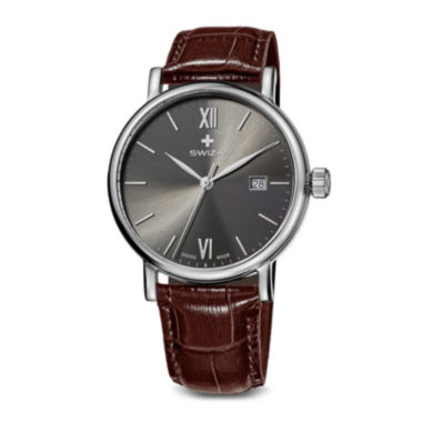 jcpenney.com | Swiza Mens Gray Dial Brown Leather Strap Watch