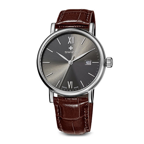Swiza Mens Gray Dial Brown Leather Strap Watch