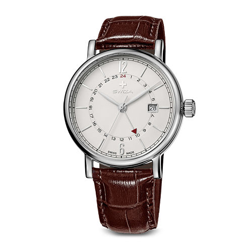 Swiza Mens White Dial Brown Leather Strap Watch