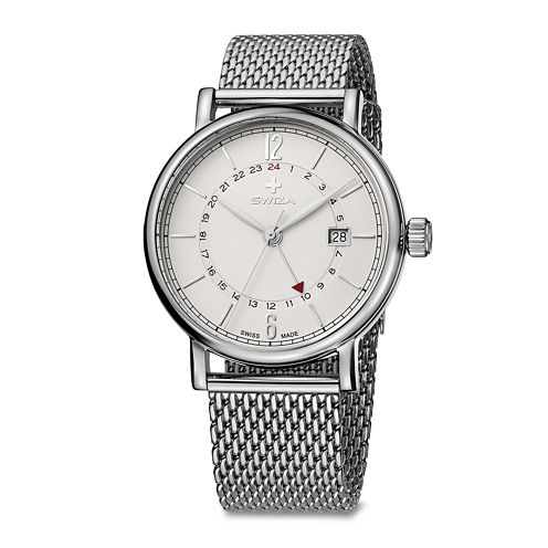 Swiza Mens White Dial Stainless Steel Bracelet Watch