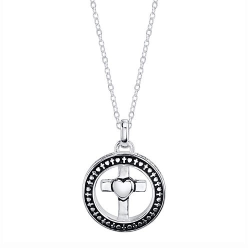 Footnotes® Silver Round with A Cross Pendant Necklace