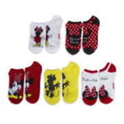 Disney Womens 5-pk. Minnie Mouse No-Show Socks