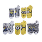 Disney Minions Womens 5-pk. No-Show Socks