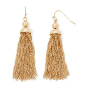 Liz Claiborne® Gold-Tone Tassel Drop Earrings