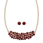 Monet® Red Crystal Cluster Collar Earring and Necklace Set