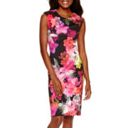 Worthington® Short-Sleeve Floral Print Sheath Dress