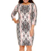 Bisou Bisou® 3/4 Sleeve Printed Sheath Dress - Plus
