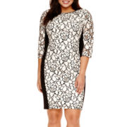 Bisou Bisou® 3/4-Sleeve Floral Lace Sheath Dress - Plus