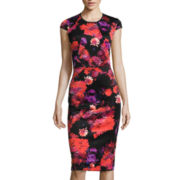 London Style Collection Short-Sleeve Floral Sheath Dress - Petite