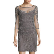 Prelude Long-Sleeve Beaded Shift Dress