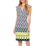 Liz Claiborne® Cap-Sleeve Side-Ruched Sheath Dress