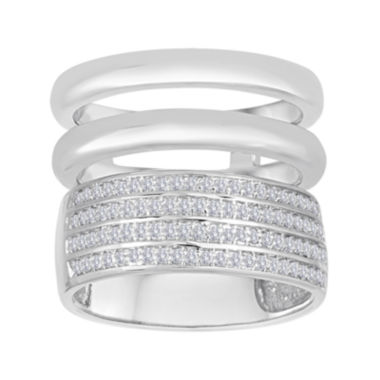 jcpenney.com | 1/3 CT. T.W. Diamond Sterling Silver Multi-Band Ring