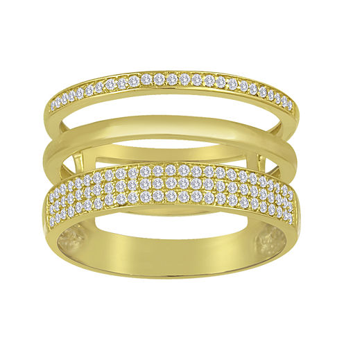 1/3 CT. T.W. Diamond 14K Yellow Gold Over Sterling Silver Multi-Band Ring
