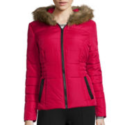 Celebrity Pink Faux-Fur Hooded Puffer Jacket