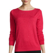 Worthington® Long-Sleeve Embellished Tunic Sweater - Petite